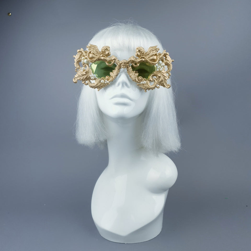 """Talulla"" Gold Cherub, Pearls & Filigree Sunglasses"