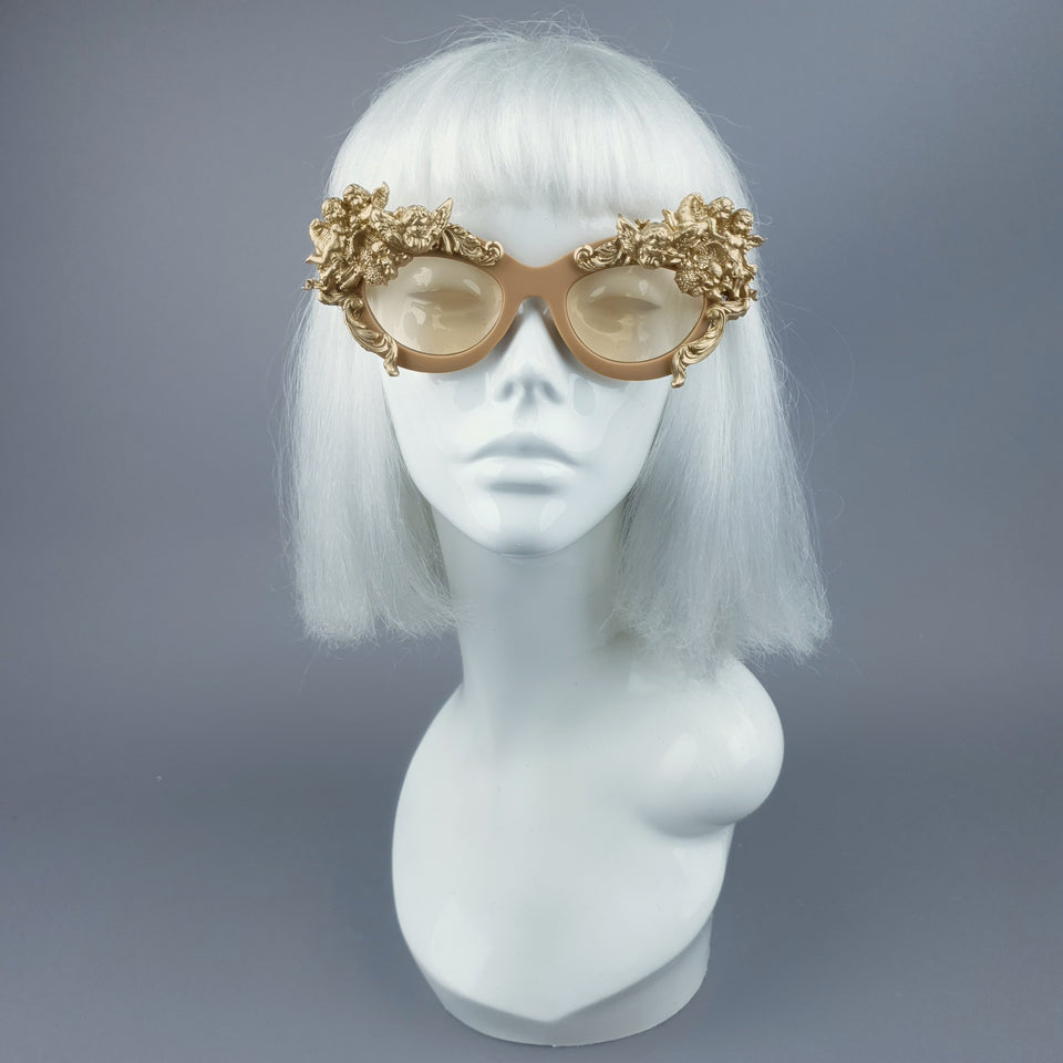 """Azrael"" Gold Cherub & Filigree Sunglasses"