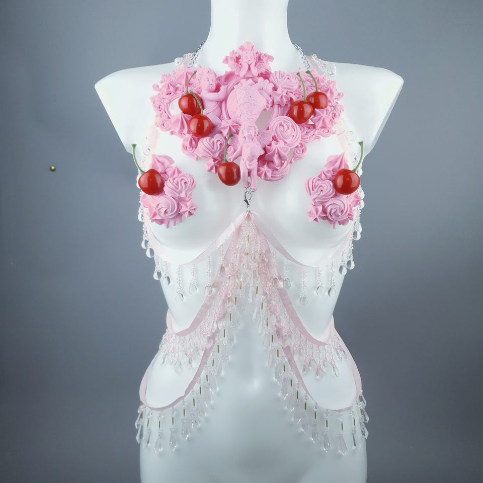 """Nuolla"" Pink Cherry Filigree & Beading Body Jewellery with Nipple Pasties"