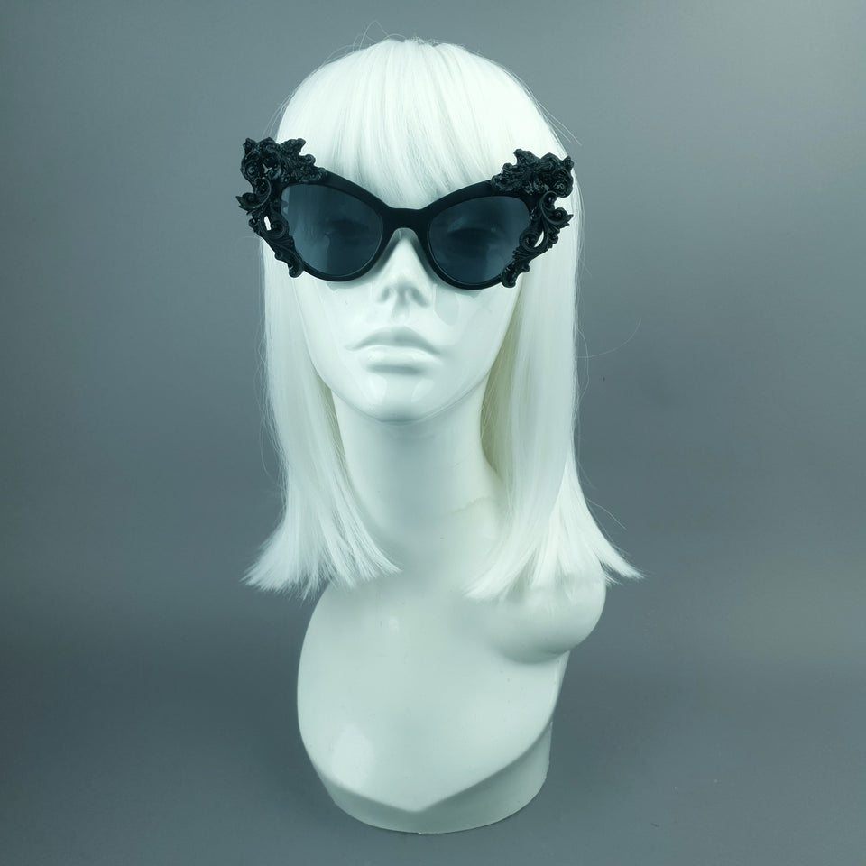 """Ophelia"" Black Filigree Sunglasses"