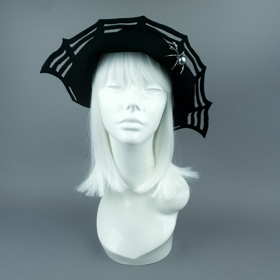 """Widow Noir"" Black Spider Web Hat"
