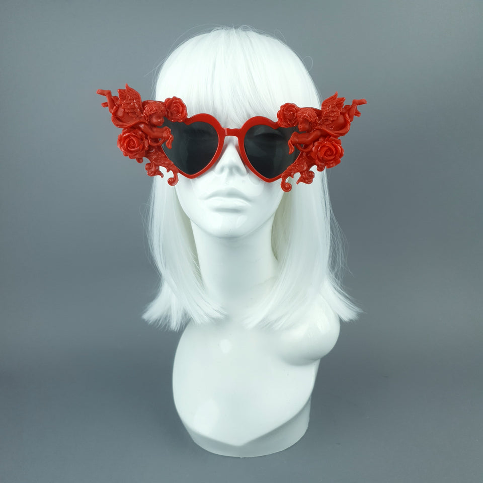 """Doux"" Red Heart Shaped Cherub Sunglasses"