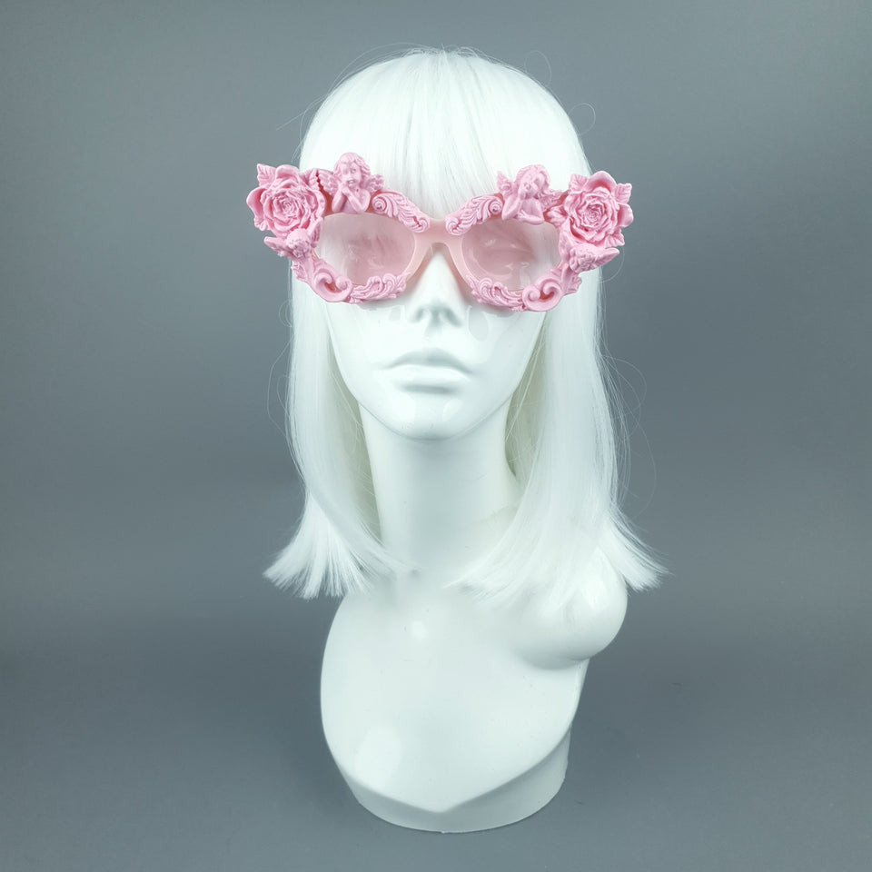 """Immortal"" Pink Angel, Rose & Filigree Catseye Sunglasses"