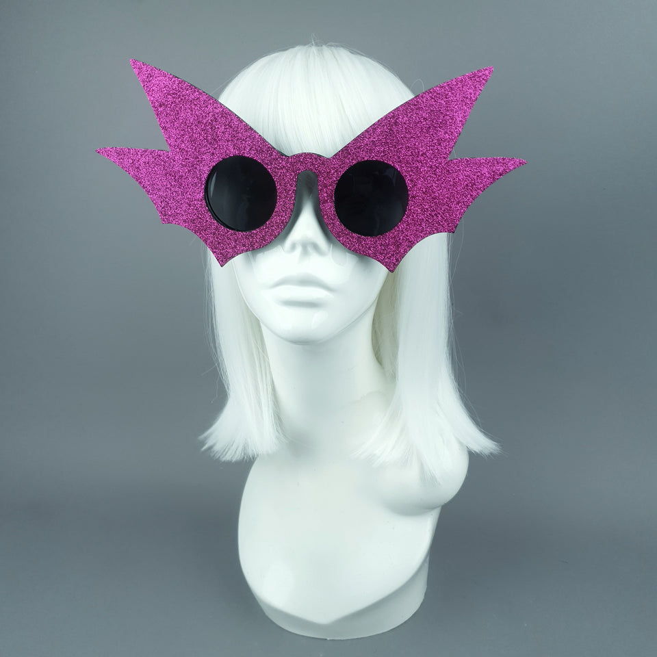 """Nerezza"" Oversized Pink Glitter Bat Wing Sunglasses"