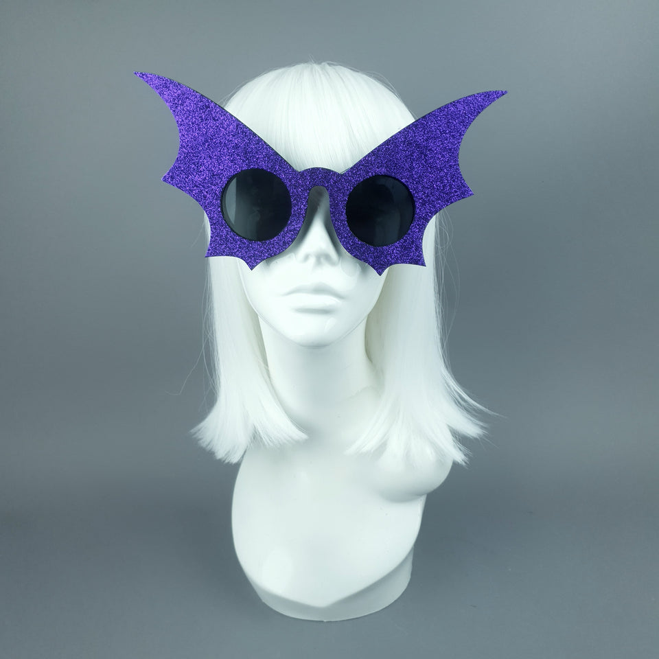 """The Night Flier"" Purple Glitter Bat Wing Sunglasses"