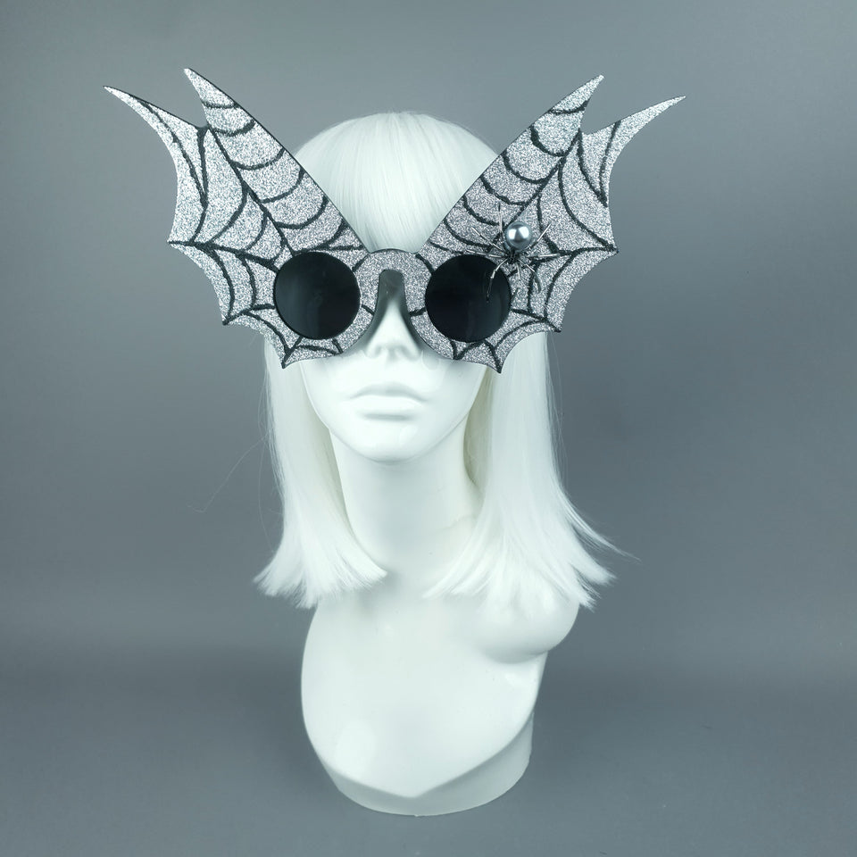 """Morana"" Oversized Silver Spider Web Wing Sunglasses"