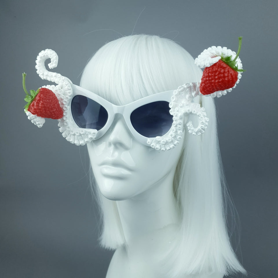 """Ursula"" White Octopus Kraken Tentacle with Strawberries Sunglasses"