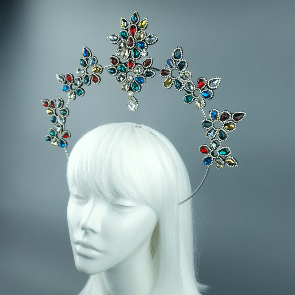 Multi Coloured Diamante Jewel Halo 68