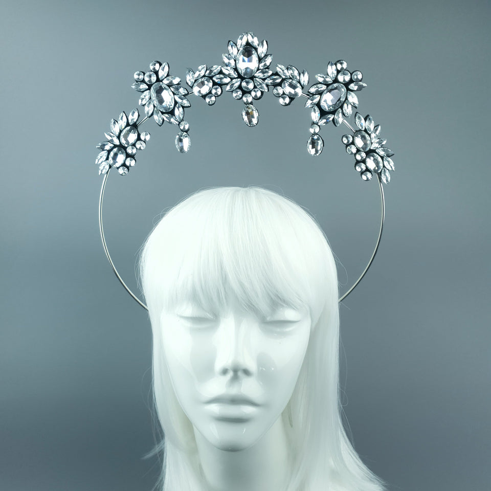 Silver/Clear Diamante Jewel Halo 91