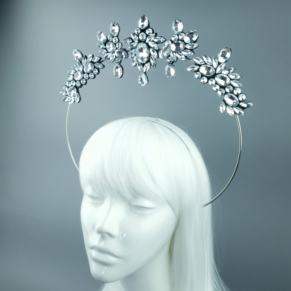 Silver/Clear Diamante Jewel Halo 93