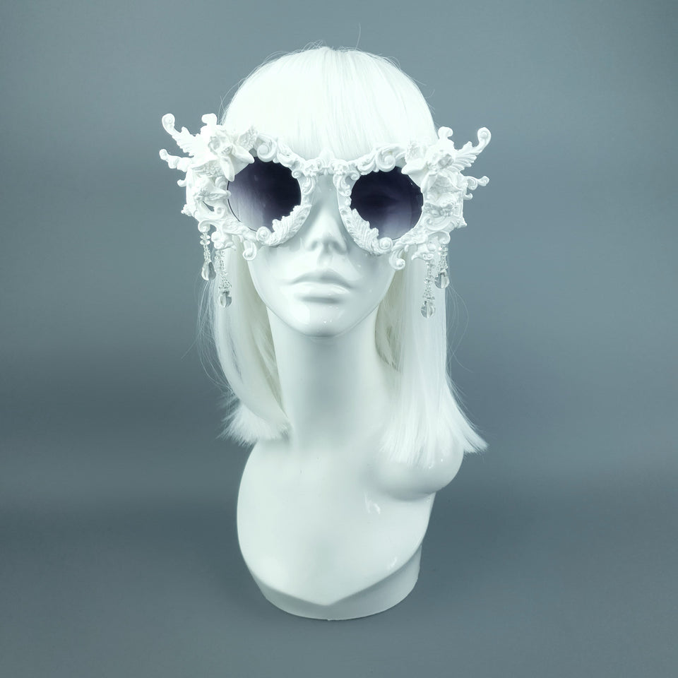"""Callisto"" White Cherub & Filigree  Sunglasses"