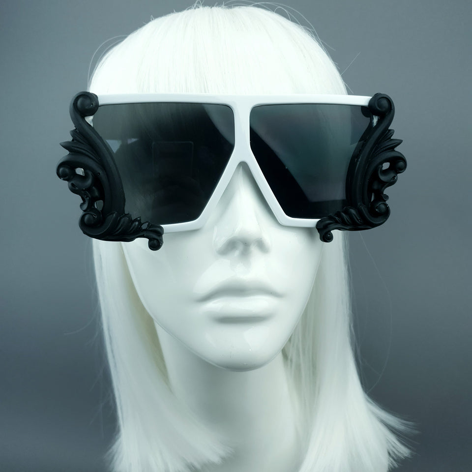 """Nandor"" Black & White Filigree Unisex Sunglasses"