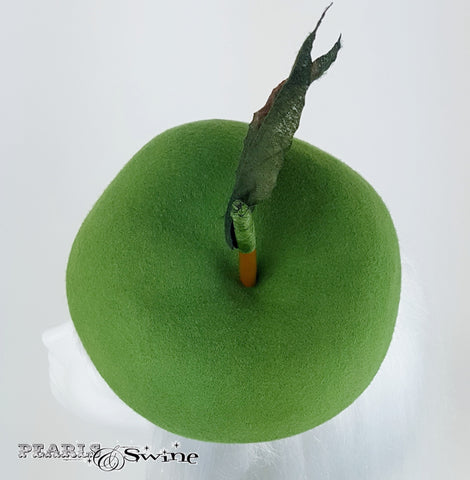 Realistic green fruit apple satin lined hat