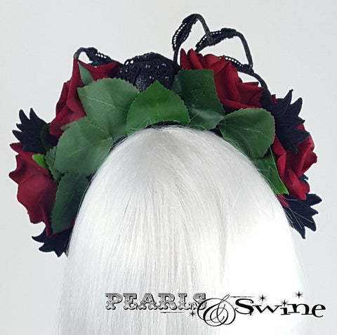 Roses and spider headband