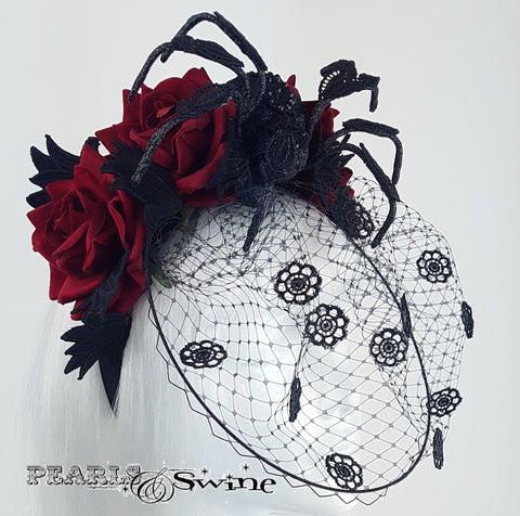 Anatomical spider and roses veiled headband