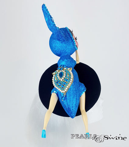 Blue bejewelled hat