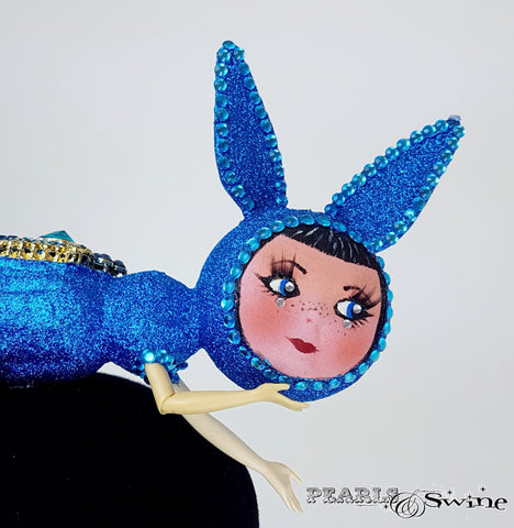 Doll face Blue sparkling hat
