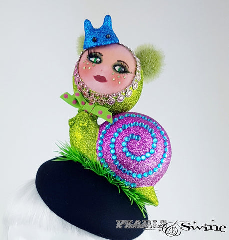 Hand blocked doll face snail hat