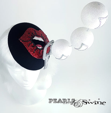 "Red Crystal Lips Hat ""Bubble Blower"""
