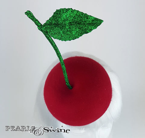 Red felt cherry hat