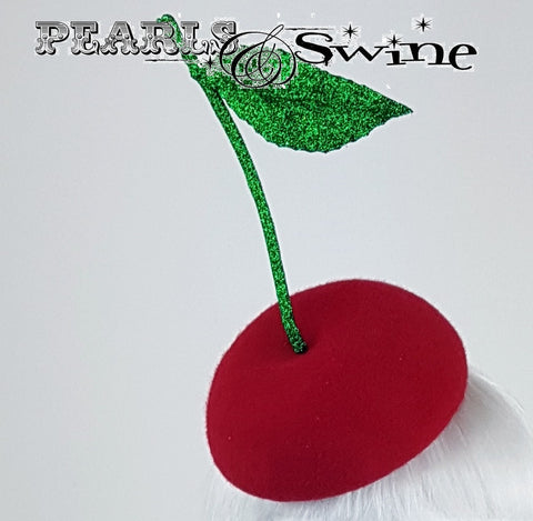 Red felt Cherry hat with stalk