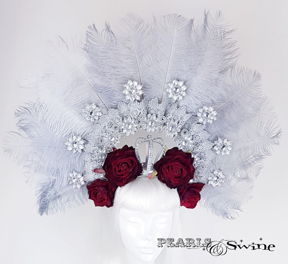 Bejewelled Ostrich Feather Crown Hat