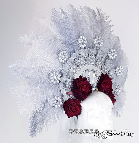 Ostrich Feather and roses hat