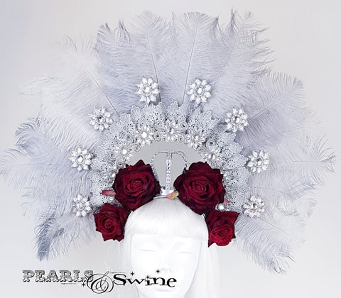 Ostrich Feather, Jewels and Red Roses Crown Hat