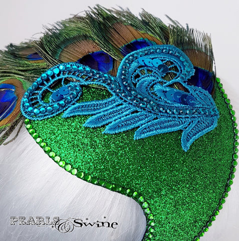 Art deco peacock feather hat