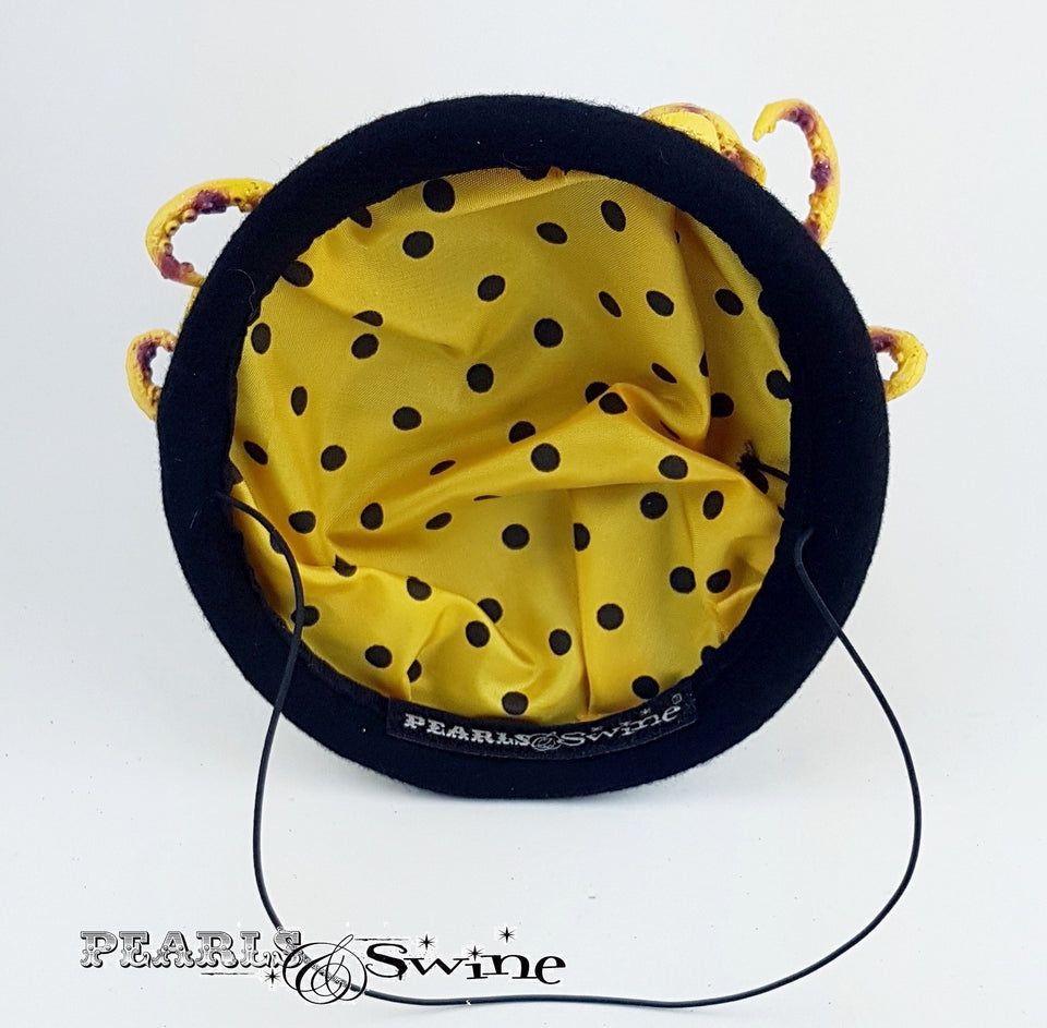 Yellow Polka Dot Doll Face Hat