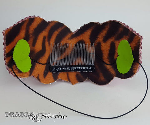 Animal print satin lined bunny hat