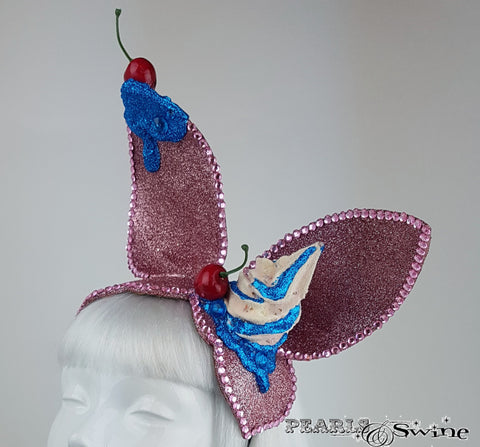 Quirky glittering pink ice cream hat