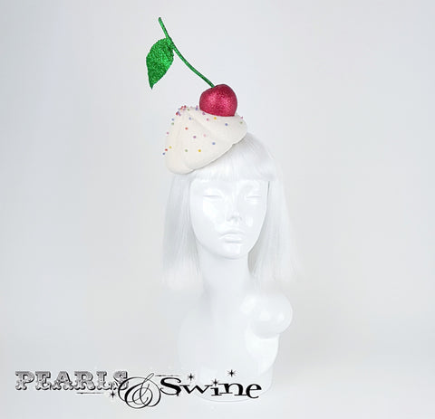 Crystal adorned ice cream hat