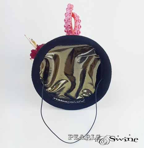 Metalic gold lined hand blocked hat