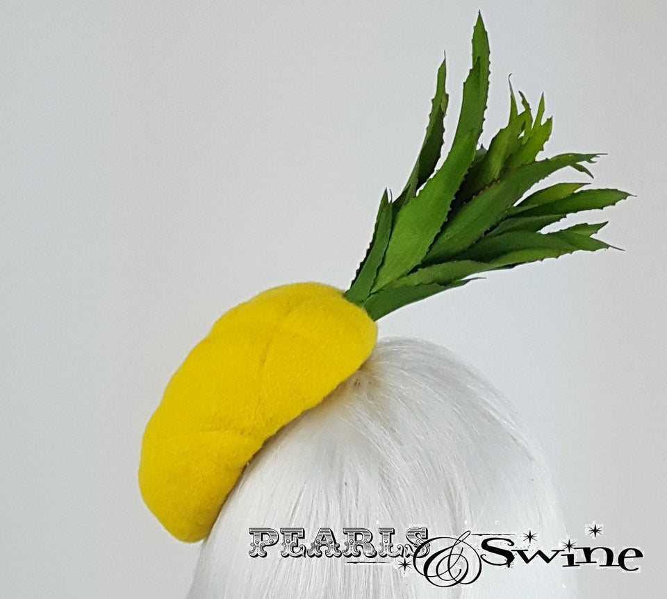 Chic and vibrant yellow pineapple felt hat