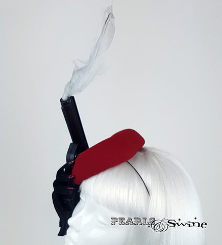 Red smoking gun felt hat