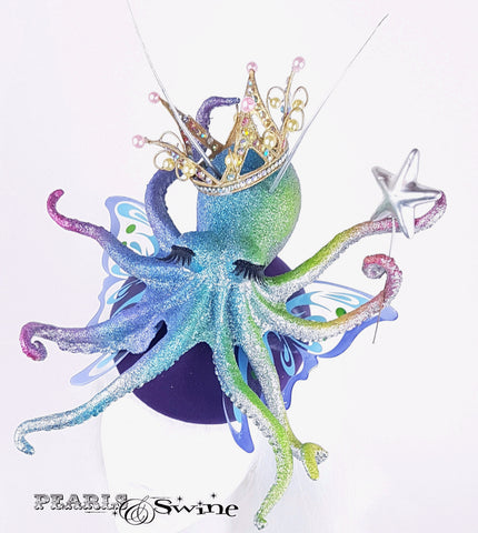 surreal sparkling octopus hat