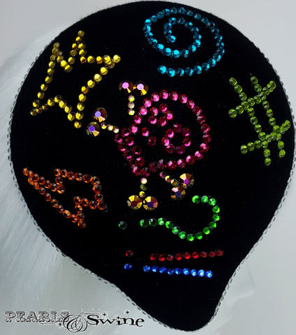 Black crystal hand-blocked hat