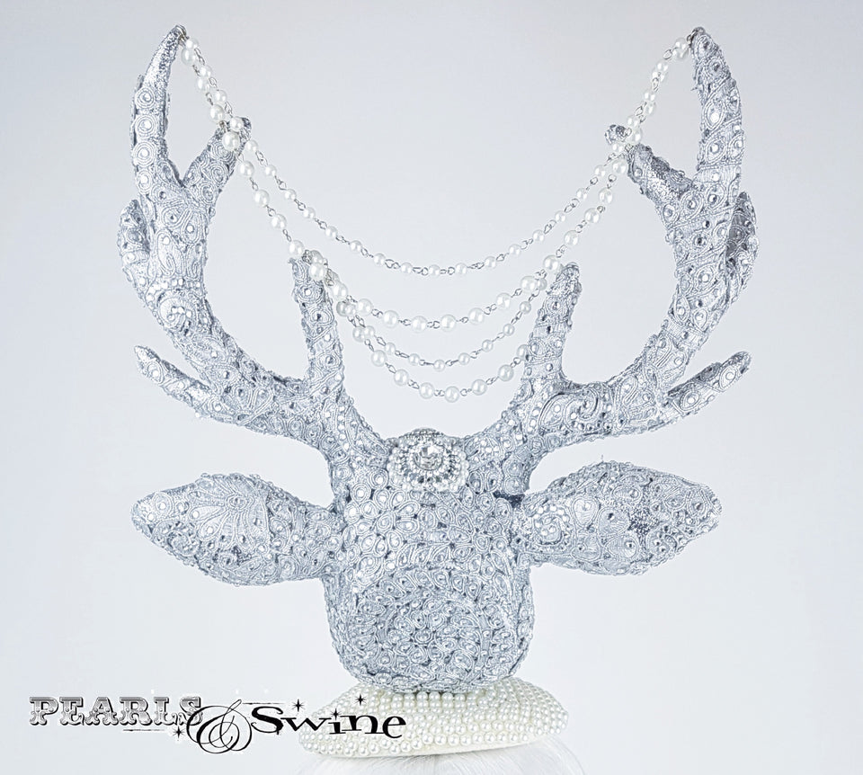 Silver Jewelled stag hat