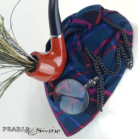 Scottish Tartan hat with monocle pipe and peacock feather