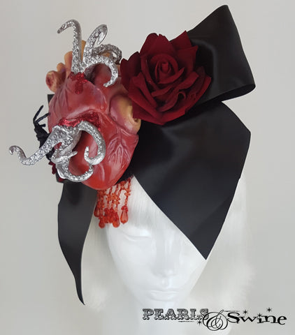 halloween fascinator anatomical heart bow tentacles.