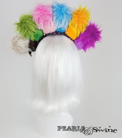 back of Fluffy Colourful Monster Headdress