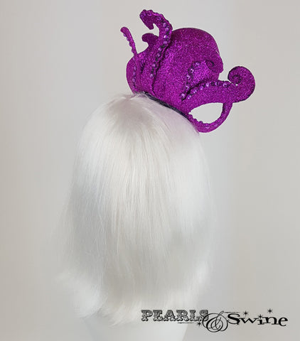 Pink Glitter Octopus Fascinator, unusual ladies hats for sale UK