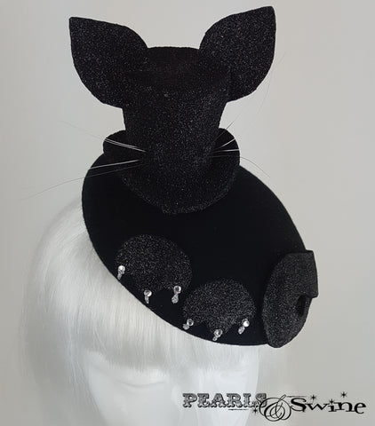 Black glitter mini top hat with cat ears and whiskers set on a blocked felt hat for sale UK