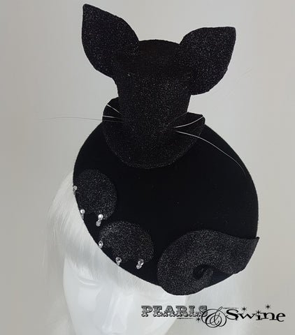 Black glitter mini top hat for crazy cat ladies UK