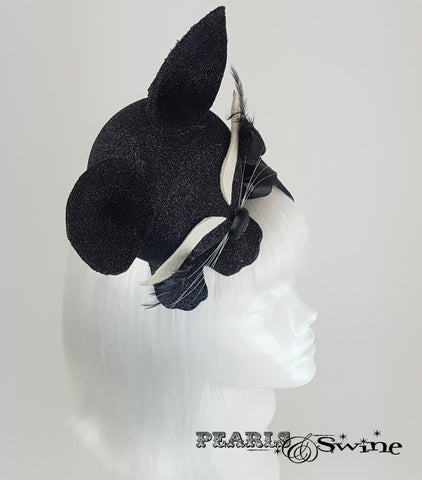 Black glitter sleeping cat vintage style hat for sale UK