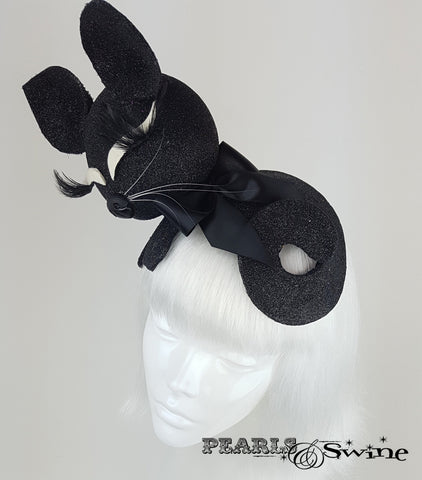 Black glitter sleeping cat whimsical hat