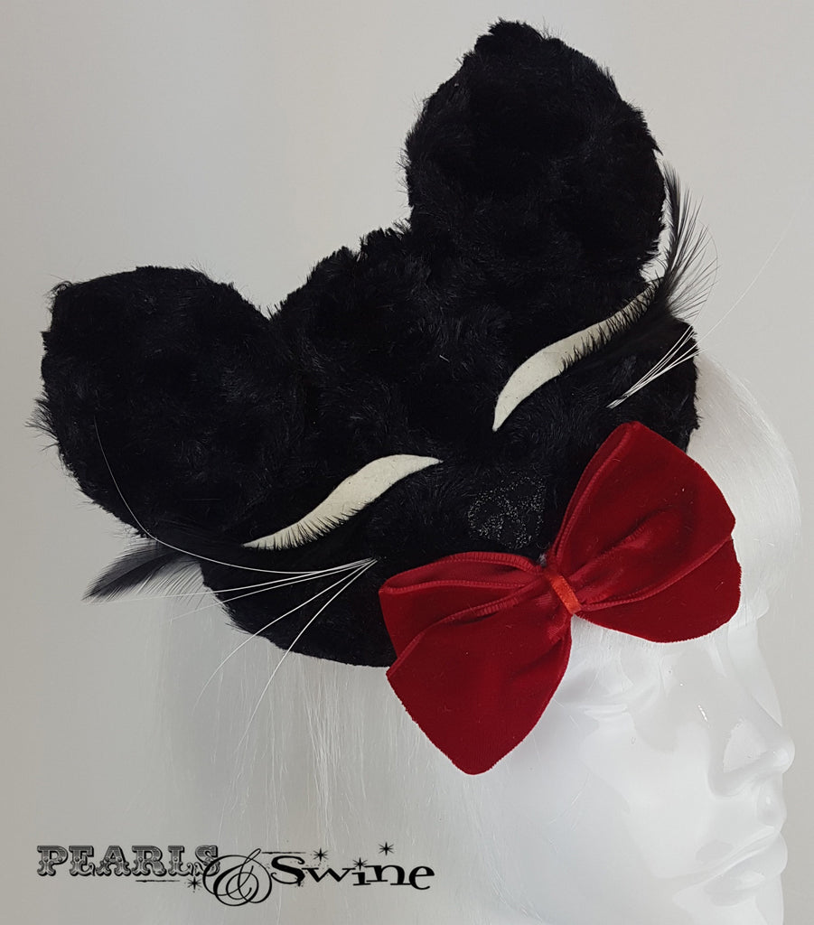 Black fluffy sleeping cat face hat