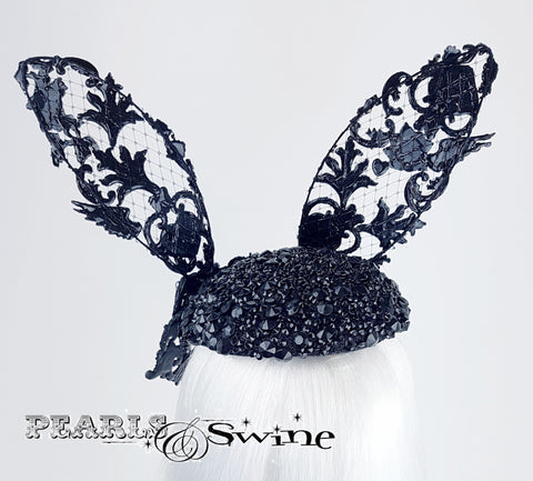 Black lace rabbit mask hat