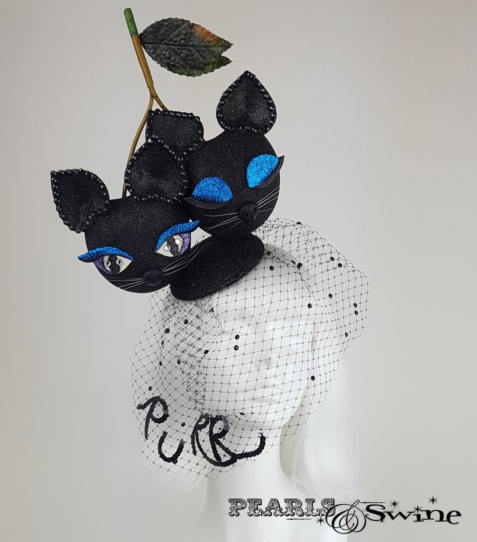 Black glitter giant cherry cats hat with a veil